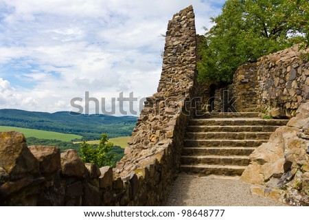 Fortified Wall of Holloko castle in Hungary. UNESCO World Heritage Site. - stock photo