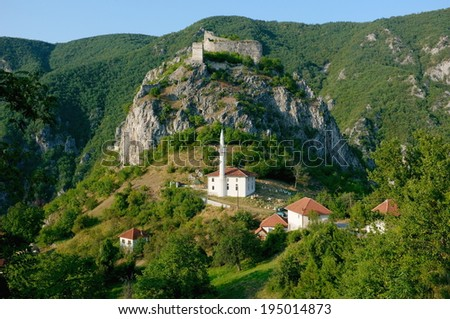 fortress and mosque in Hisardzik, Serbia - stock photo