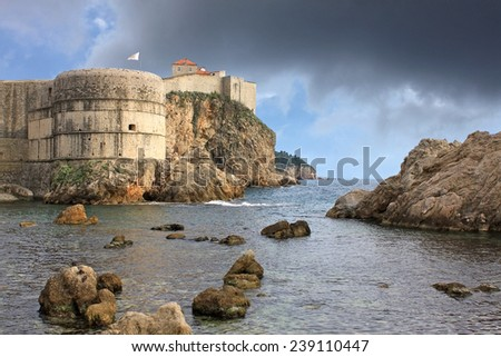 Fortress in Dubrovnik, Croatia. Fort Bokar is the key point in the defense of the Pila Gate. - stock photo