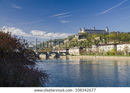 Fortress Marienberg with Old Main Bridge and the Main River in front. - stock photo