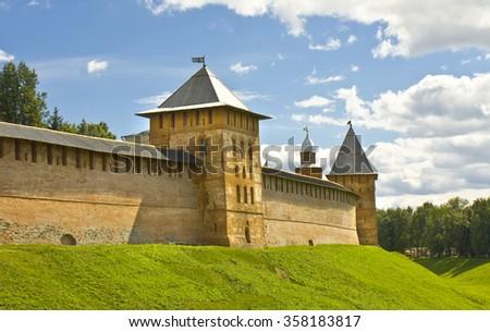 Fortress Novgorodsky Kremlin in town Great Novgorod, Russia. - stock photo