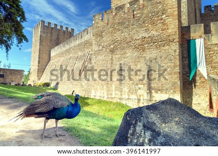 Fortress of Saint George view Lisbon  Portugal (Castelo de Sao Jorge) - stock photo