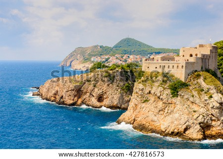 Fortress of the Old town of Dubrovnik, Croatia. - stock photo