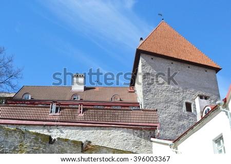 Fortress wall on Toompea hill in Tallinn, Estonia. - stock photo