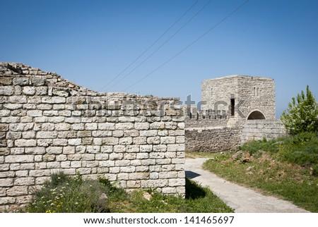Fortress walls at Kaliakra cape at Black Sea in Bulgaria - stock photo