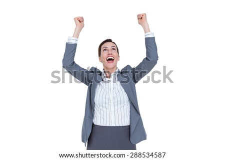 Fortunate businesswoman celebrating a success on a white background - stock photo