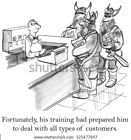 Fortunately his training had prepared him to deal with all types of customers. - stock photo