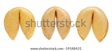 Fortune Cookie Background Pattern Isolated on White with a Clipping Path. - stock photo