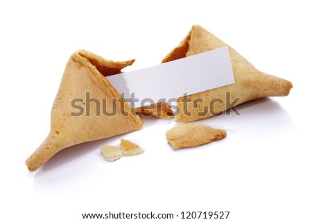 Fortune cookie with blank paper on white background - stock photo