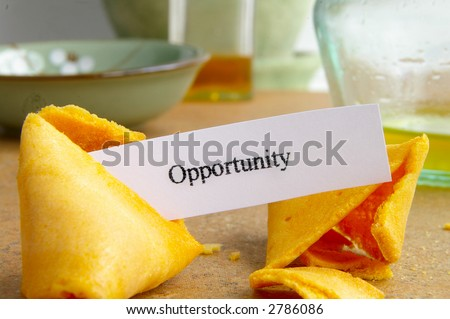 """Fortune cookie with paper """"opportunity"""" message, closeup - stock photo"""