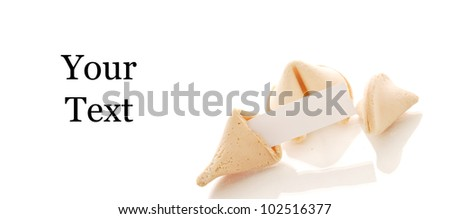 Fortune Cookies and Blank Paper - stock photo