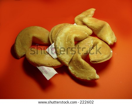 Fortune Cookies on red background - stock photo