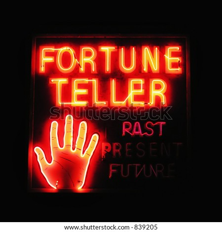 Fortune Teller neon sign - stock photo