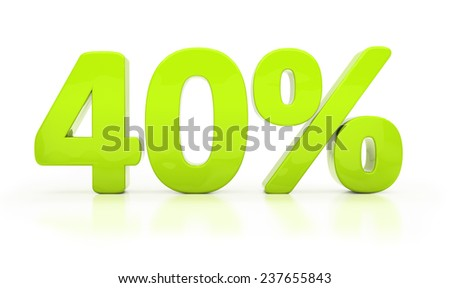 Forty percent off. Discount 40.  Percentage. 3D illustration - stock photo