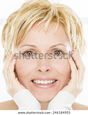 Forty years lady with short hair - stock photo