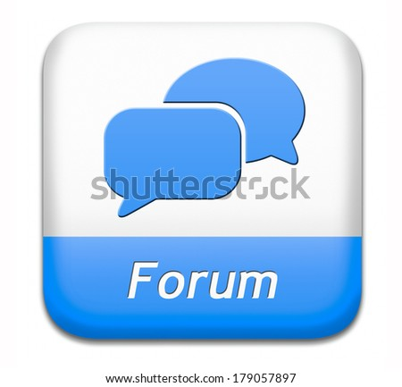 forum blue button internet icon website www logon login and subscribe to participate in discussion  - stock photo