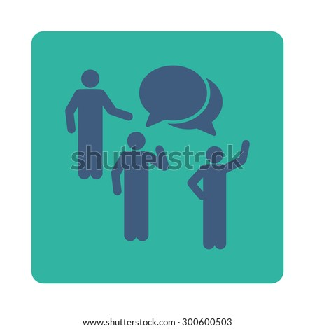 Forum icon. This flat rounded square button uses cobalt and cyan colors and isolated on a white background. - stock photo