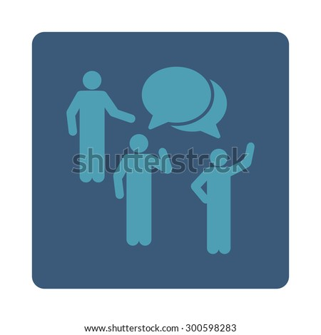 Forum icon. This flat rounded square button uses cyan and blue colors and isolated on a white background. - stock photo