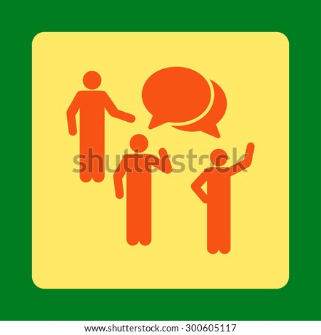Forum icon. This flat rounded square button uses orange and yellow colors and isolated on a green background. - stock photo