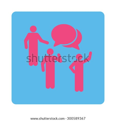 Forum icon. This flat rounded square button uses pink and blue colors and isolated on a white background. - stock photo