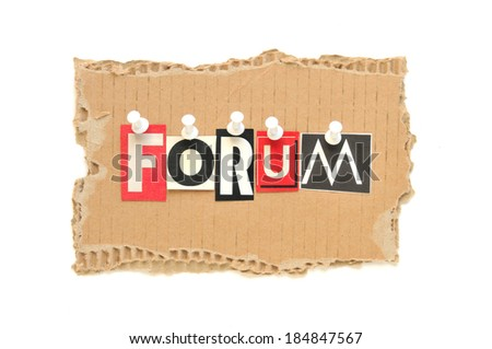 Forum - Newspaper letters on a cardboard - stock photo