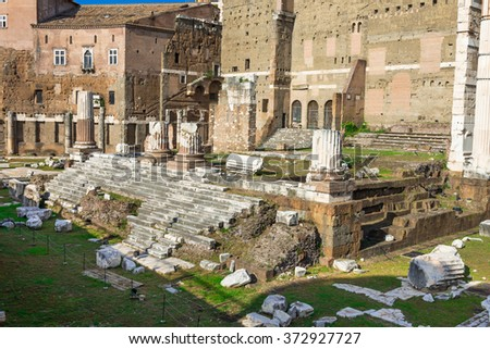 Forum of Augustus is one of the Imperial forums in Rome, Italy - stock photo