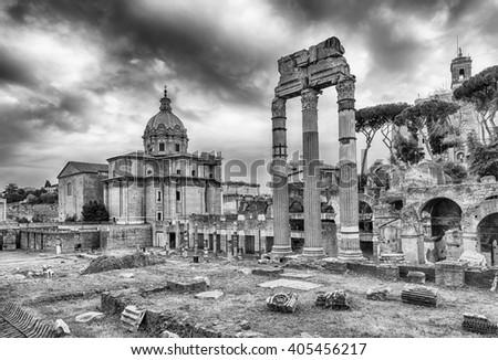 Forum of Caesar, ruins in Via dei Fori Imperiali, Rome, Italy - stock photo