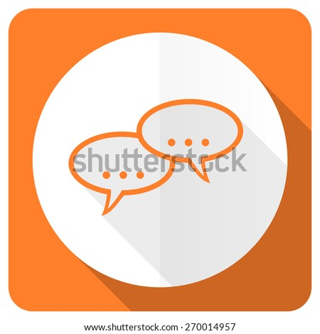 forum orange flat icon chat symbol bubble sign  - stock photo