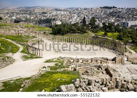 Forum (Oval Plaza) and Colonnade Street in Jerash, Jordan - stock photo