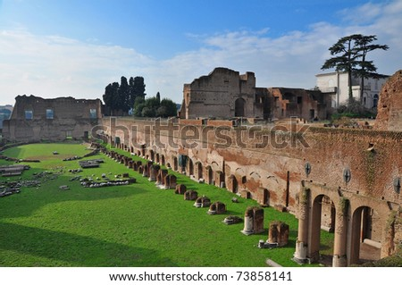 Forum romanum and palatin hill in Rome - stock photo