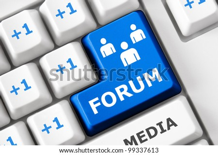 Forum text and people symbols on the modern keyboard. Social network concept - stock photo