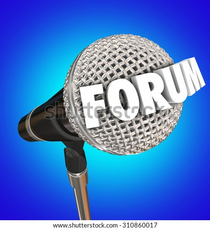 Forum word on a microphone on blue background to illustrate an open meeting or discussion to communicate your feedback, ideas, opinions or comments - stock photo