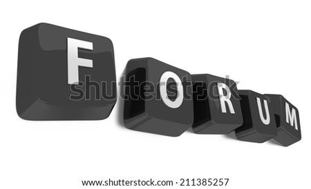 FORUM written in white on black computer keys. 3d illustration. Isolated background. - stock photo