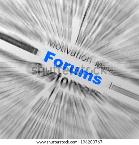 Forums Sphere Definition Displaying Online Discussion Chatting Or Global Communication - stock photo