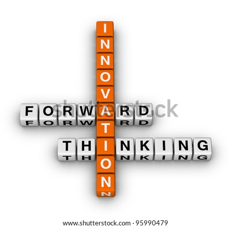forward thinking innovation crossword puzzle - stock photo