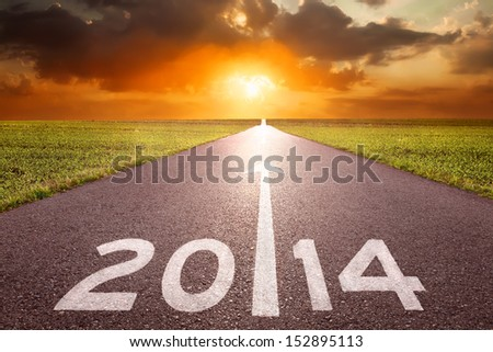 Forward to new 2014 on the road - stock photo