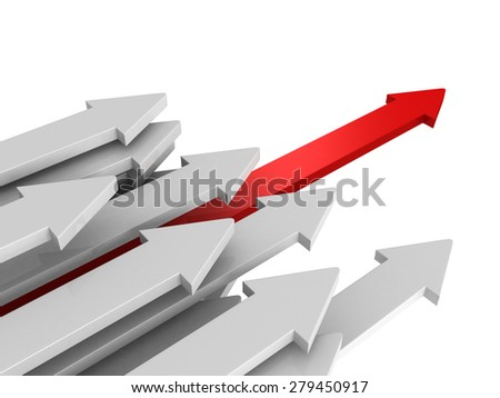Forward Way Leader Red Arrow Of Team Group Flow. Business Success Achivement Concept 3d Render Illustyration - stock photo