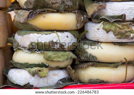 Fossa cheese aged in caves in the autumn for three months produced typical Romagna Italy - stock photo