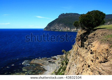 Fossil Cliff in Maria Island - stock photo