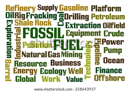 Fossil Fuel word cloud on white background - stock photo