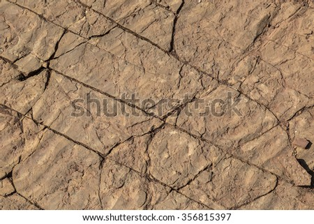 Fossilized mud or sand ripples from the bottom of an ancient lake in fractured sandstone useful as background or texture. - stock photo