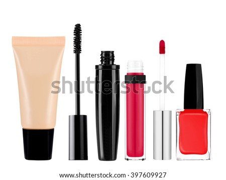 foundation, mascara, lip gloss and nail polish isolated on white background - stock photo