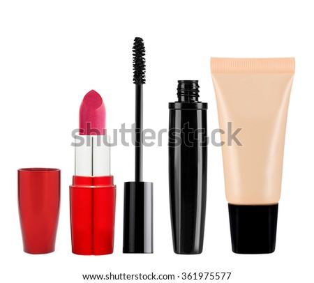 foundation, mascara, lipstick isolated on white background - stock photo