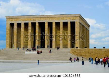Founder of modern Turkey, Ataturk's mausoleum in Ankara - stock photo