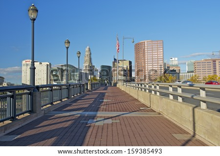 Founders Bridge Walkway and Hartford Skyline, Connecticut, USA - stock photo