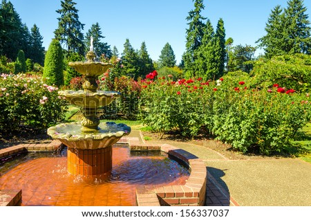 Fount in the Portland Rose Garden - stock photo