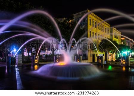 Fountain at night at the Waterfront Park in Charleston, South Carolina. - stock photo