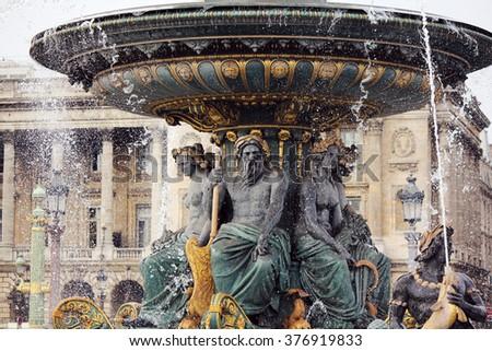 fountain at Place de la Concorde à Paris - stock photo