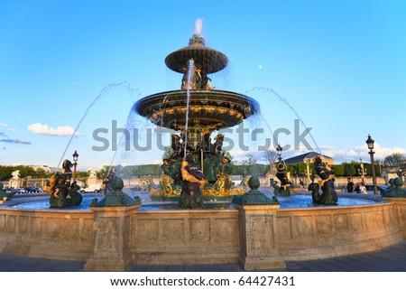 Fountain at the Place de la Concorde, Paris, France - stock photo