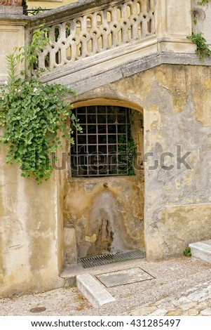 Fountain at the stairway to the castle, Soave Verona Italy - stock photo